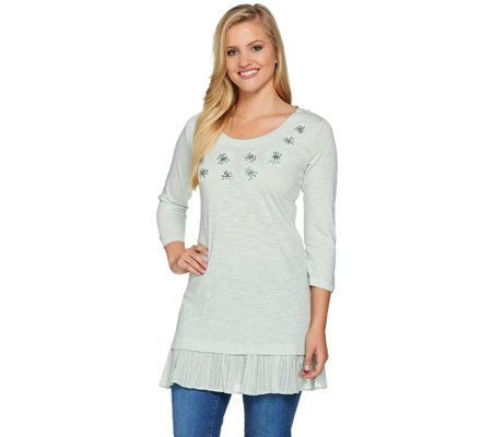 LOGO by Lori Goldstein Slub Knit Embellished Top with Hem Detail