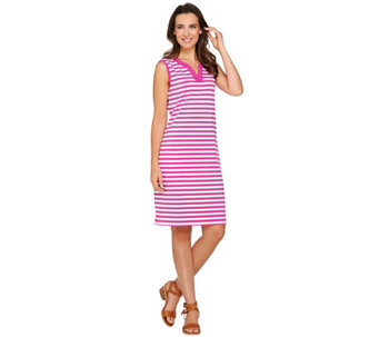 Denim & Co. Beach Sleeveless Cover Up Dress w Stripe Detail - A275880