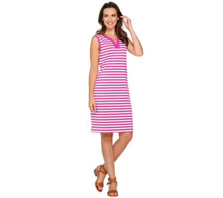 Denim & Co. Beach Sleeveless Cover Up Dress w Stripe Detail