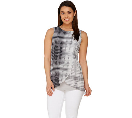 H by Halston Sleeveless Knit Top with Printed Overlay