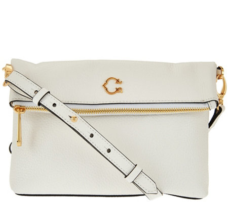 C. Wonder Pebble Leather Foldover Crossbody Handbag