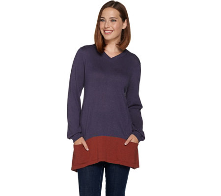 LOGO by Lori Goldstein Cotton Cashmere V-neck Sweater