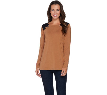 Susan Graver Weekend Cotton Modal Long Sleeve Top w/ Lacing Detail