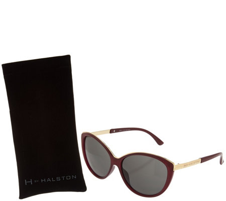 H by Halston Cat Eye Framed Sunglasses with Metal Rim
