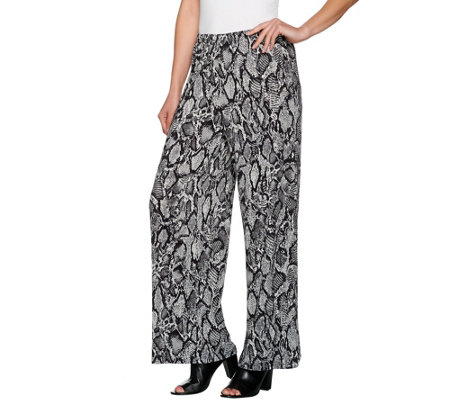 Joan Rivers Regular Length Jersey Knit Wide Leg Pull-On Pants