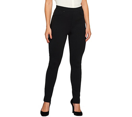 """As Is"" View by Walter Baker Petite Ponte Pants with Faux Leather Trim"