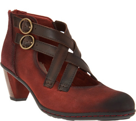 Earth Multi-Strap Leather Booties with Back Zip - Amber