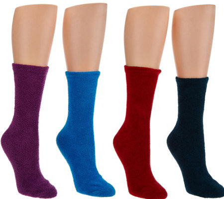MUK LUKS Set of 4 Pairs Jojoba Infused Non-Slip Socks