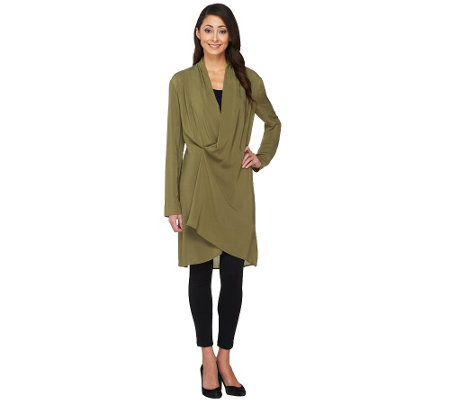 """As Is"" Lisa Rinna Collection Long Sleeve Wrap Front Tunic"