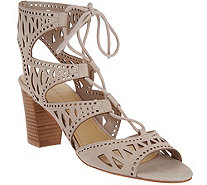 Marc Fisher Suede Perforated Lace-up Sandals - Petite - A287480