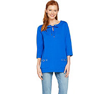 Susan Graver Weekend French Terry Tunic with Grommets - A288480