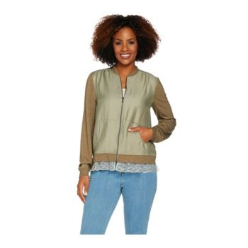 LOGO by Lori Goldstein Zip Front Woven Bomber Jacket w/ Knit Sleeves