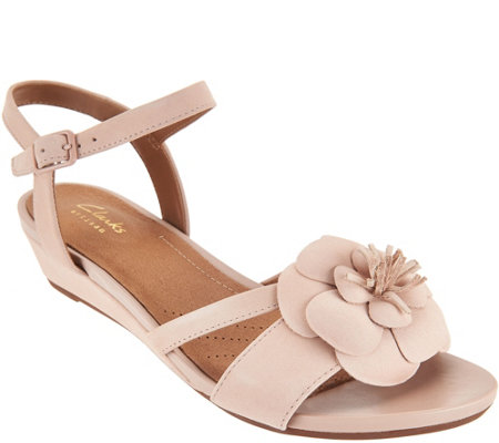 Clarks Artisan Nubuck Wedges with Flower Detail - Parram Stella