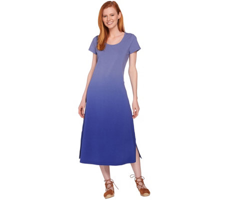 H by Halston Regular Short Sleeve Dip Dye Knit Midi Dress