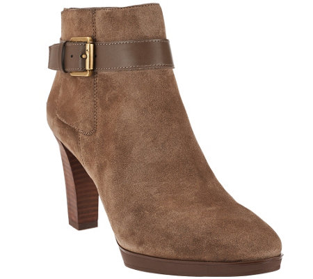 """As Is"" Franco Sarto Suede Boots with Ankle Buckle Detail - Idrina"