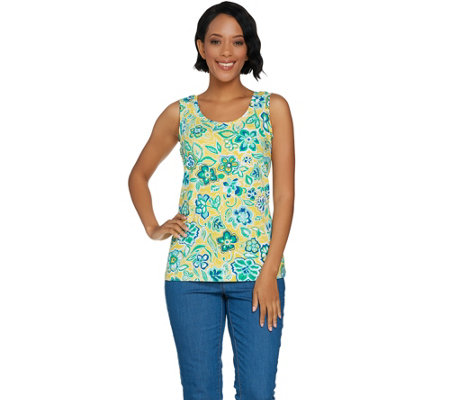 Denim & Co. Floral Print Sleeveless Round Neck Knit Top