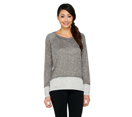 """As Is"" Lisa Rinna Collection Long Sleeve Color- Block Knit Top"