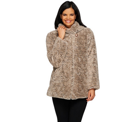 """As Is"" Dennis Basso Shawl Collar Textured Faux Fur Jacket"