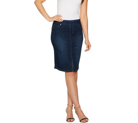 Women with Control My Wonder Denim Pull-On Skirt
