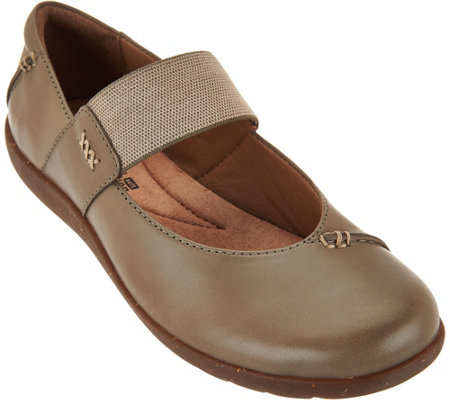 """As Is"" Clarks Leather Gore Strap Mary Janes - Medora Elie"