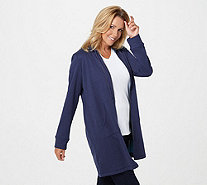 LOGO Lounge by Lori Goldstein French Terry Long Hooded Jacket - A294680