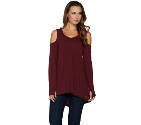 Peace Love World Long Sleeve Knit Top with Cold Shoulder