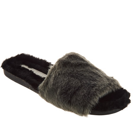 Lori Goldstein Collection Faux Fur Slides