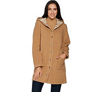 Denim & Co. Sherpa Bonded w/ Printed Fleece Hooded Snap Front Coat - A297780