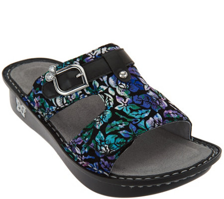 """As Is"" Alegria Leather Adj. Slide Sandals - Peggy"