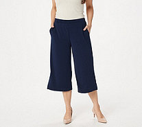 Susan Graver Liquid Knit Pull-On Wide Leg Crop Pants - A306880