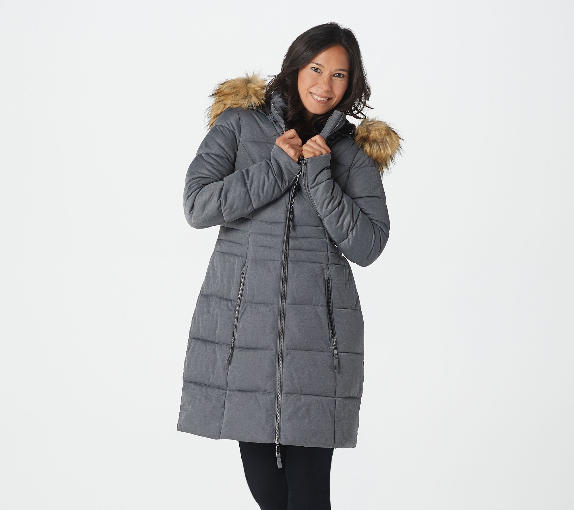 Nuage Stretch Puffer Coat with Removable Hood & Faux Fur - A342280