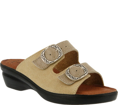 Flexus by Spring Step Suede Slide Sandals - Coast