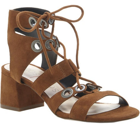 Sole Society Block Heel Leather Sandals - Rosemary