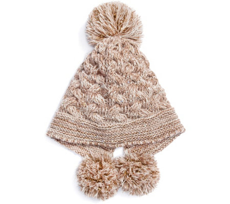 MUK LUKS Women's Cable Knit Pom Hat