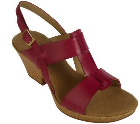 Clarks Rose Memory Leather T-Strap Cork Wedge Sandals