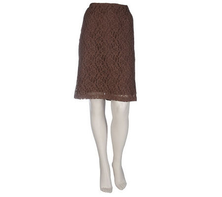 Dennis Basso Fully Lined Lace Pencil Skirt with Zipper Closure
