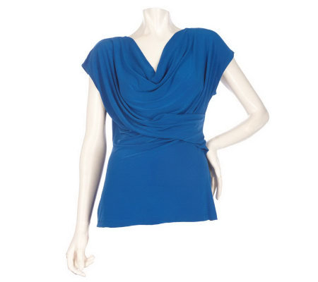 M by Marc Bouwer Drape Front Top with Extended Sleeve