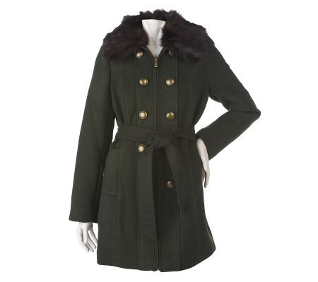 Dennis Basso Zip Front Coat with Faux Fur Collar & Button Detail