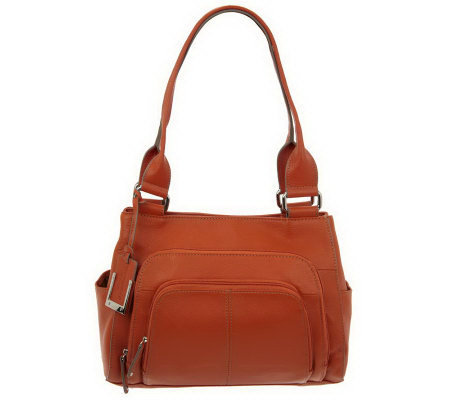Tignanello Pebble Leather Shopper with Zip Around Front Pocket