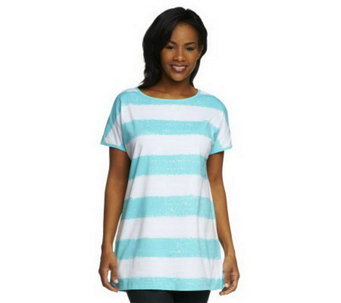 Denim & Co. Perfect Jersey Short Sleeve Painter Stripe Oversized Top - A223981