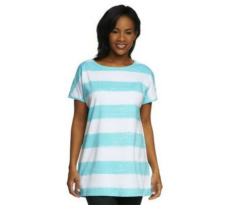 Denim & Co. Perfect Jersey Short Sleeve Painter Stripe Oversized Top