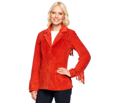 Denim & Co. Washable Suede 3-Button Fringe Jacket