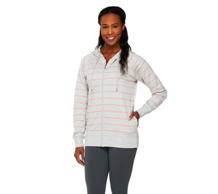 Allure by Julia K Zip Front Striped Hoodie with Pockets