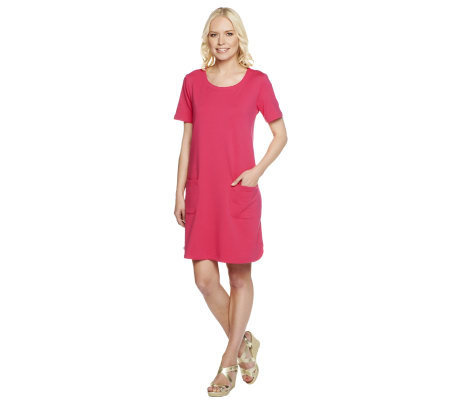 Susan Graver Solid French Terry Dress with Front Patch Pockets