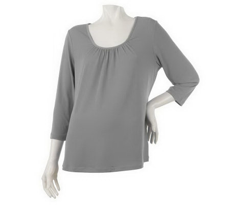 """As Is"" Susan Graver Essentials Liquid Knit 3/4 Sleeve Top"