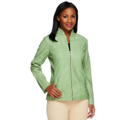 Susan Graver Faux Leather Zip Front Jacket with Zipper Detail
