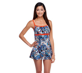 Fit 4 U D's and E's Soho Paisley Double Bow Swim Dress - A252581