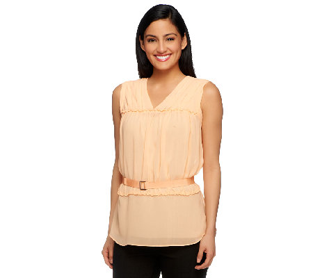 G.I.L.I. V-Neck Sleeveless Blouse with Shirring Detail
