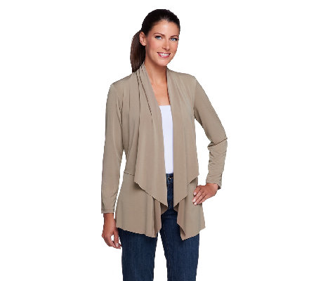 Susan Graver Liquid Knit Long Sleeve Open Front Tiered Cardigan