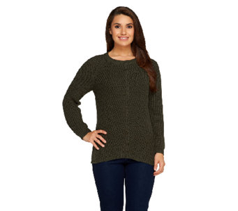 Denim & Co. Shaker Stitch Long Sleeve Pull-Over Sweater - A257481